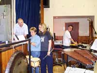 The percussion section work out who plays what to make sure nothing is missed